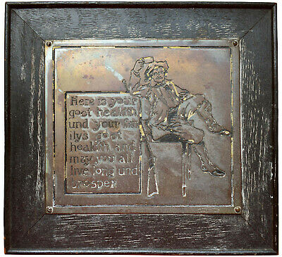Beer Drinking Toast - 1902 Antique - Wharff-Eaton Engraved Metal Plaque - Rare