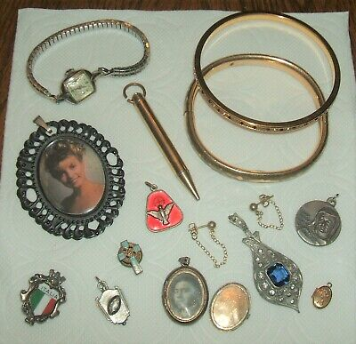 Lot of old vintage antique jewelry pendants pencil pins lockets bracelets watch