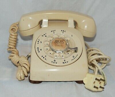 Vintage 1950s Beige Western Electric Bell System 500 Rotary Desk Telephone