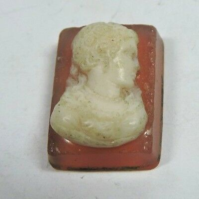 Antique Vintage Victorian Rectangle Hard Stone Cameo Piece 20 mm x 14 mm #N817