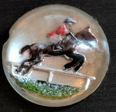 Antique Vintage Reverse Painted Intaglio Crystal Horse English Jumper Rider AA13