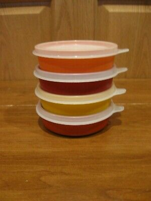 TUPPERWARE 4 harvest colors little wonder 6 oz snack bowls #1286 with sheer lids