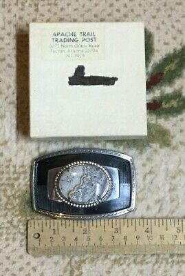 Vintage Western Belt Buckle with Gray Stone, Apache Trading Post