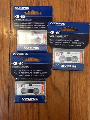 Olympus MicroCassette Micro Cassette Tape  MC-60 XB60 60 min Lot Of 3