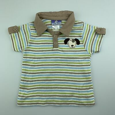 Boys size 00, Unicorn, soft cotton stripe polo shirt / tee, GUC