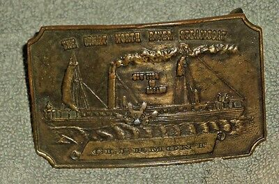 1974 Bergamot Brass Works Clermont The Great North River Steamboat Belt Buckle