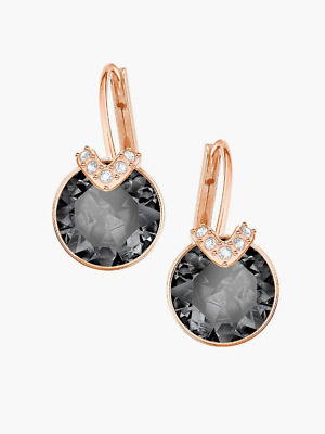 34577a9b6 Swarovski Bella Large Gray Rose-Gold-Plated V Drop Pierced Earrings #  5353202