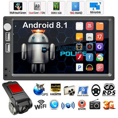 7In 2DIN GPS Android 8.1 WiFi BT Car Stereo MP5 Player FM Radio+Car DVR Camera