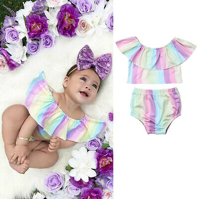 US Summer Infant Kids Baby Girls T-shirt Short Brief Pants Rainbow Clothes Set