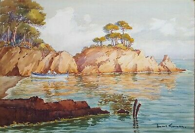 Watercolor Painting, Vintage Landscape, Coastal Painting, Circa 1930 French Art