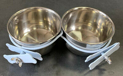 "2 of 4"" Versatile Stainless Steel Coop Water Food Feeder Cup For Pet Animal Cage"