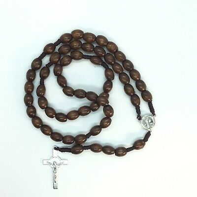 Blessed Catholic Rosary Necklace Brown Wood Beads Necklace Saint Benedict Medal