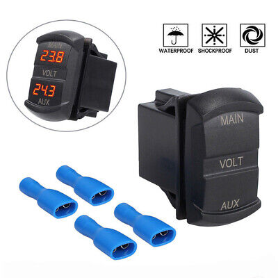 12V 24V Car Marine Motorcycle LED Digital Voltmeter Voltage Meter Battery Gauge