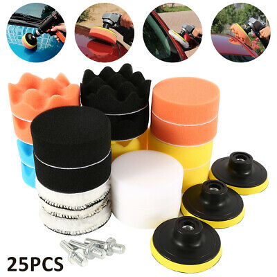 25pc Car Waxing Buffing Polishing Pad Kit for Sponge Polisher with Drill Adapter
