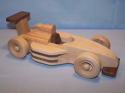 """OOAK Handmade Handcrafted Wooden Toy RACE CAR Formula 1 Type 10"""" L Natural Wood"""