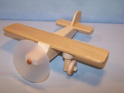 """OOAK Handmade Handcrafted Wooden Toy Airplane 9"""" X 9"""" Natural Wood Disc Prop"""