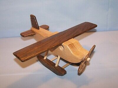 """OOAK Handmade Handcrafted Wooden Toy Pontoon Airplane 10"""" X 9 1/2"""" Natural Wood"""