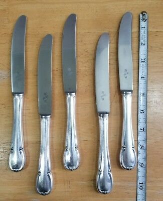 Lot Of 5 Vintage To Antique Wmf Friodur 90 Silverplate Handled Dinner Knives