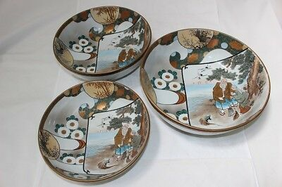 Rare Kutani Ware Japanese Porcelain 3 Bowl With Box Over 90 Years Ago