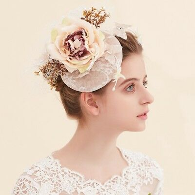 Race Pillbox Hat With Flowers&Veiling Wedding Sinamay Fascinator Royal Ascot Hat