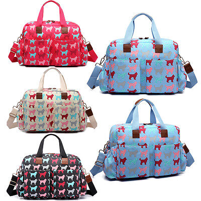 4pcs Changing Bag Mummy Maternity Baby  Nappy Diaper Wipe Clean Dog Print