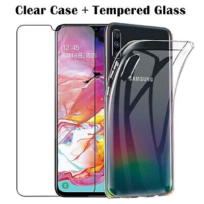 Clear back case cover for Samsung Galaxy A10 A20 A30 + glass screen Protector Ya