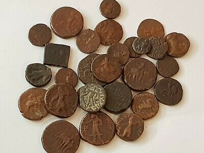 Stunning Lot Of 28 Ancient Indo Greek Bronze Coins Rare Mints.very Interest.