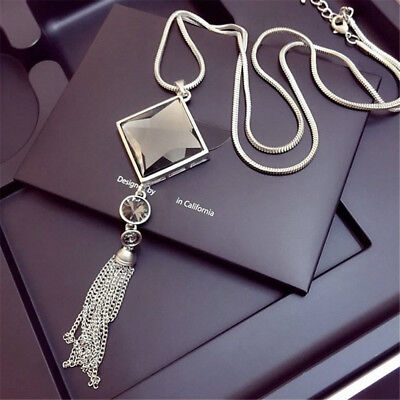 Fashion Women Necklace Pendant Square Big Drop Crystal Long Chain Sweater Tassel