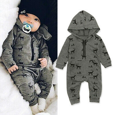 UK Toddler Baby Boy Deer Hooded Romper Bodysuit Jumpsuit Playsuit Outfit Clothes