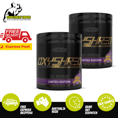 2 X EHP Labs Oxyshred Hardcore Twin Pack Fat Burner Thermogenic 40 serves