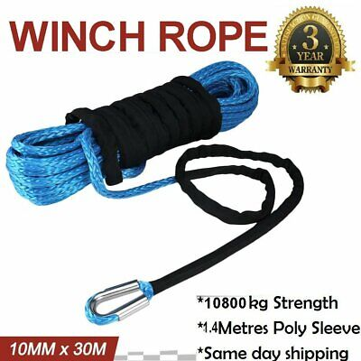 10MM x 30M Black Dyneema Winch Rope SK75 Synthetic Tow Recovery Cable 4WD