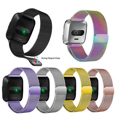 Milanese Loop For FITBIT VERSA Magnetic Stainless Steel Watch Band Strap S/L US