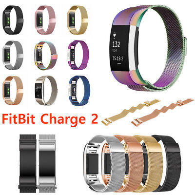 Milanese Band For FitBit Charge 2 HR Metal Stainless Magnetic Loop Band Strap