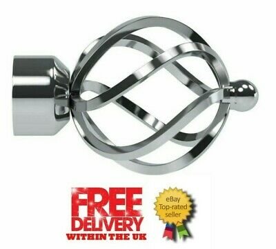 Speedy Pristine Poles Apart 25mm-28mm End Cage Finials, Chrome, 2 Pack(1 Pair)