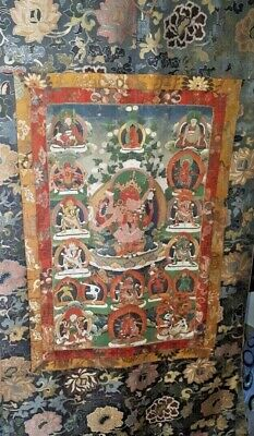 Late Qing Dynasty Chinese Thangka, Tibet 19th Century Signed