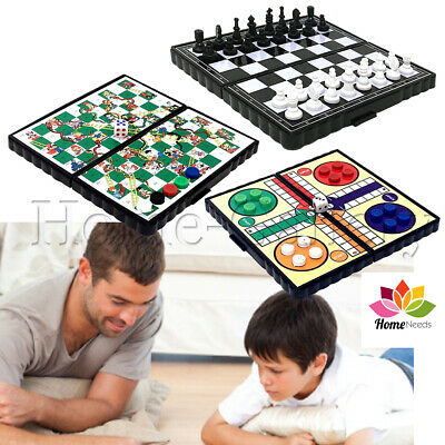 Chess Ludo Snakes and Ladders Board Games Mini Magnetic Travel Portable Plastic