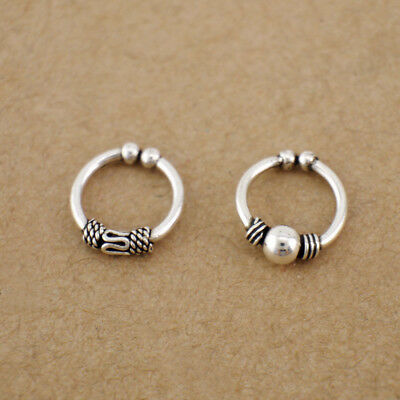 1 Piece 925 Sterling Silver Bali Ear Clip Cuff Earring Nose Ring Jewelry A1563