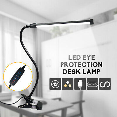 Clip On Top LED Desk Table Lamp USB Dimmable Eye Care Reading Lighting Flexible