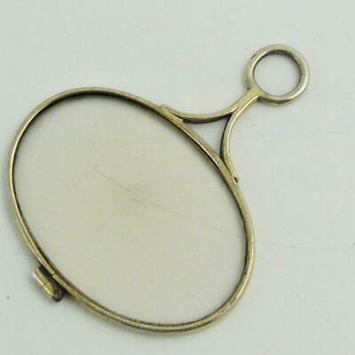 19th CENTURY GEORGIAN WHITE METAL QUIZZING MAGNIFYING GLASS