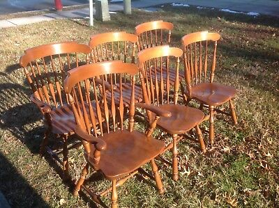 6 VIntage Heywood Wakefield Dining Room Wood Chair Set