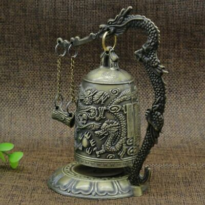 Lucky China Buddhism Temple Brass Copper Carved Statue Lotus Buddha Dragon Bell