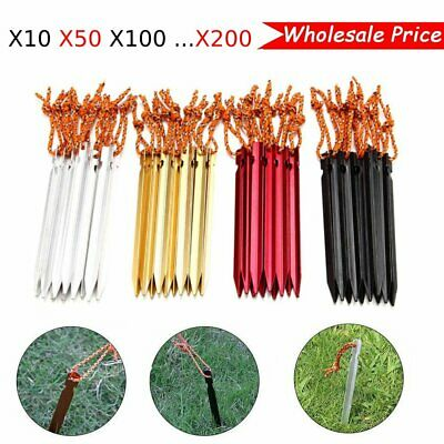 18cm 7075 Aluminum Tent Stakes Ultralight Hook Nail Tent Red Black Silver LOT MA