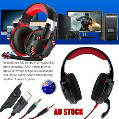 3.5mm USB Gaming Headset MIC LED Headphones for PC Mac Laptop  Xbox One NSW