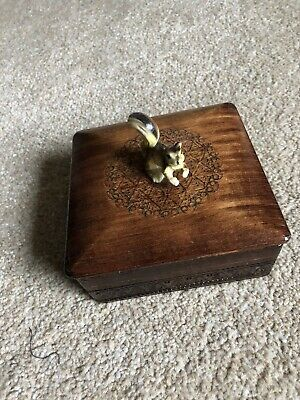 Vintage Antique Wooden Box With Squirel On Top