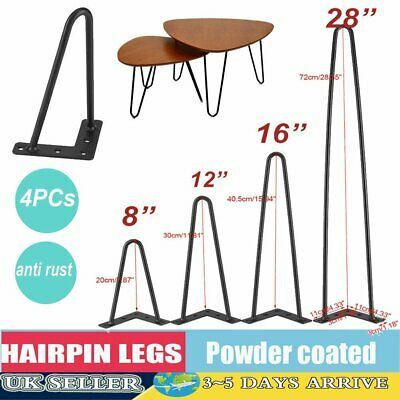 "4 x Hairpin Legs / Hair Pin Legs Set for Furniture Bench Desk Table 6""-28"" UK"
