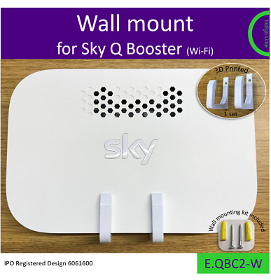 Sky Q Booster wall bracket. Holder Mount - white. Made in the UK by us.