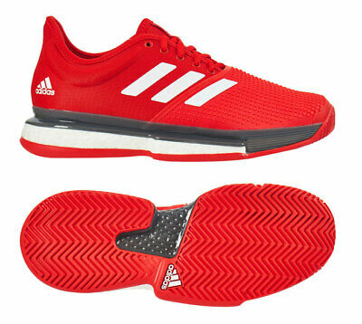 adidas Sole Court Boost Men's Tennis Shoes Red Racket Racquet US OPEN NWT EF2070