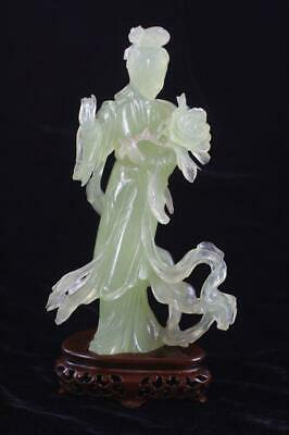 Chinese Vintage Carved Spinach Green Jade Goddess Figural