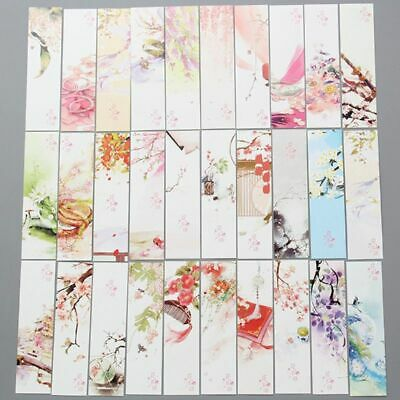30pcs Chinese Style Paper Bookmarks Painting Cards Retro Beautiful Boxed Gifts