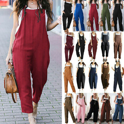 Women Causal Loose Linen Jumpsuit Strap Dungarees Playsuit Long Trouser Overalls